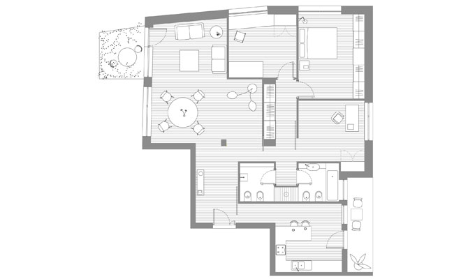 Casa con la porta dipinta ristrutturazione a roma for Planimetrie per costruire una casa