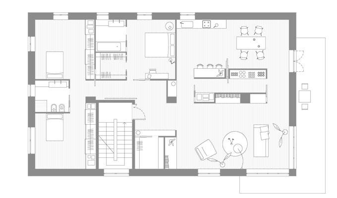 Prima casa circolare ristrutturazione a viterbo for Piante case moderne